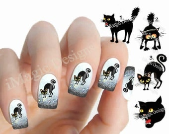 Waterslide Nail Decals, Cat Nail Stickers, Halloween Cat