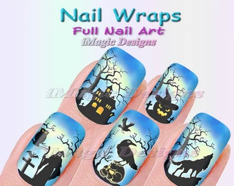 halloween nail wraps waterslide full nail decals stickers spooky halloween