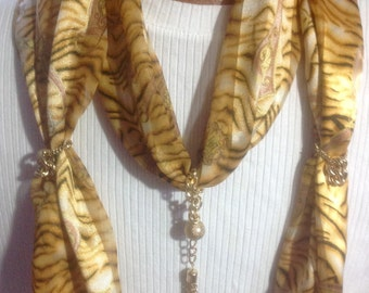 Necklace Scarf, gold/brown