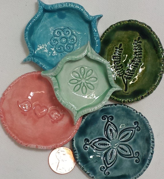 Five small ceramic ring dishes turquoise coral teal mint