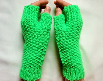 Bright green ladies long gloves - gauntlets - fingerless mittens