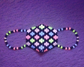 Glow Flower Pattern Kandi Mask