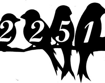 Birds House Number Address Metal Sign, Metal Art, Handmade, Any Numbers 5 Number