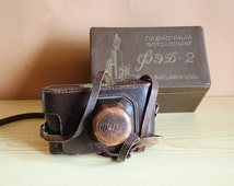 FED - 2 vintage russian Leica copia camera with lens Industar - 26m USSR era 1950s Home Decor / working camera with original leather case