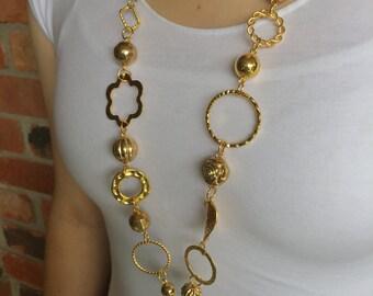 Chunky Gold Lanyard Necklace - Beaded Lanyard