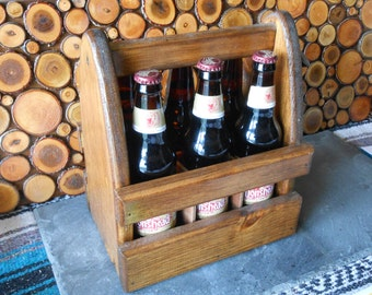Wood Six Pack Beer Carrier with Bottle Opener...Sale.