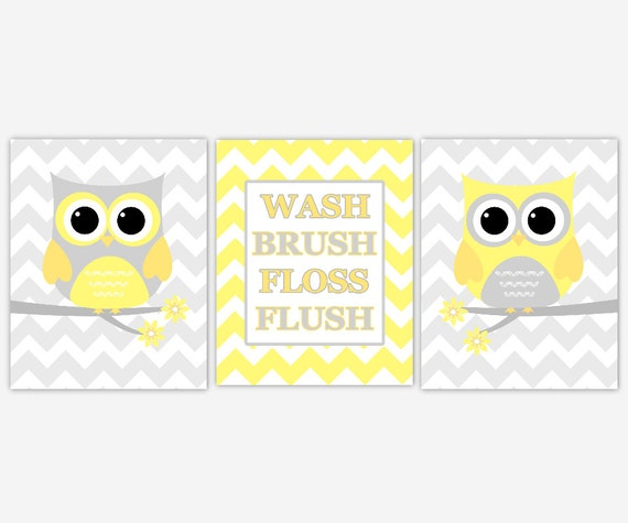 Kids Bathroom Wall Art kids bath wall art yellow gray owl wall decor wash brush floss