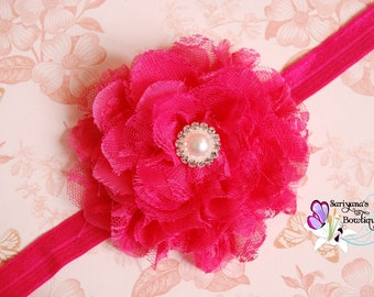 Hot Pink Chiffon Lace Flower Pearl Rhinestone Headband, Flower Girl, Flower Clip - Baby Girl Toddler Woman - Vintage - SB-045a