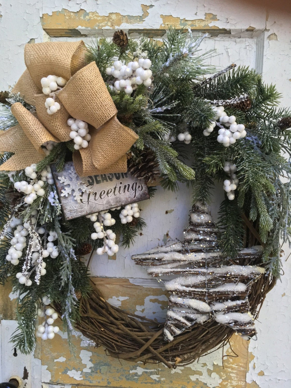 christmas wreath for front door winter wreath holiday. Black Bedroom Furniture Sets. Home Design Ideas