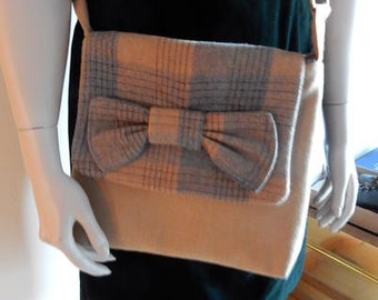 Wool Crossbody Handmade Purse Camel with Grey and Camel Plaid