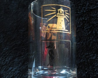"""Mid Century """"Mad Men"""" Style Black and Gold Shot Glass with Ship/Sailing Theme"""