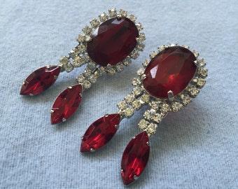 Vintage Deep Red/Clear Rhinestone Earrings - Screw Back - Glamorous!