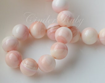 8 mm Pink Conch Shell Beads,Queen Conch shell Round Ball,Mother of Pearl Beads,MOP Beads,Shell Beads,Perfectly Round Beads