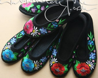 Red Poppy or Blue Poppy or Pink Poppy embroidered Slippers with leather sole