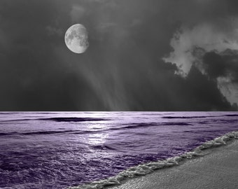 Black White Purple Wall Art Photoraphy/Ocean Moon/Sea/Decorative Bedroom Matted Picture