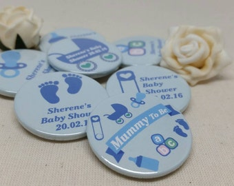 Personalised Mummy to be / Baby Shower Badges / It's a Boy - baby blue