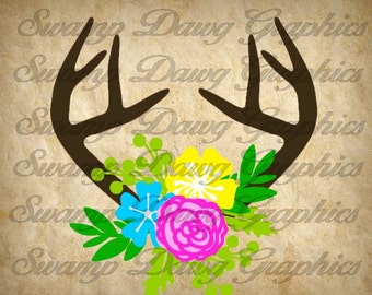 Antler Flower svg, antler flower cut file, digital file, silhouette, cricut, decal, vinyl, antler, deer svg, antler svg, flower svg, flower
