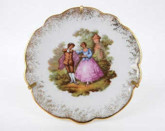 Decorative Plate, Miniature Decorative Plate, Limoges Porcelain Decorative Plate, Miniature Limoges Gold-Rimmed Porcelain Plate, Fragonard