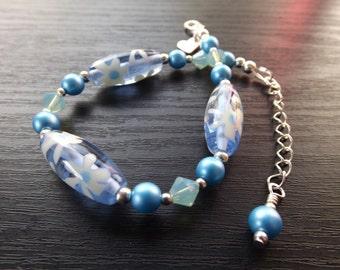 Blue Czech Glass Bead and Swarovski Crystal Bracelet
