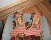 Mini Santa stockings,primitive Santa stocking,FAAP,OFG,CIJ
