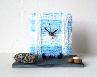 Blue Desk Clock - Wool Desk Clock - Stripy White Light Baby Blue Sky Blue Yarn - Square Desk Clock