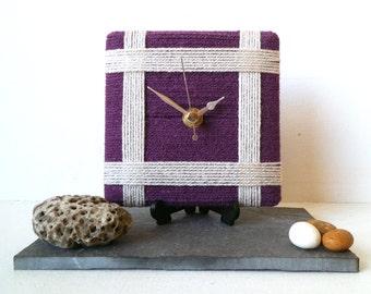 Wool Desk Clock Aubergine Eggplant and Cream Wool Yarn - Purple Square Clock