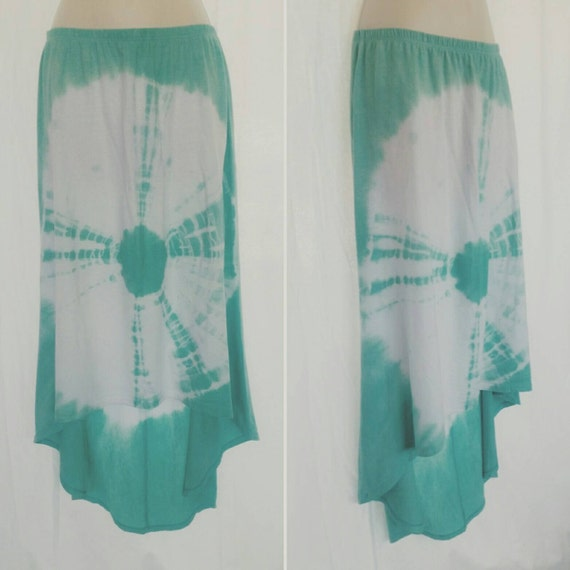 Tie Dye Hi-Lo Cala Lilly Skirt/Women's Clothing/Seafoam Green Bulls Eye/Cotton/Eco-Friendly Dying