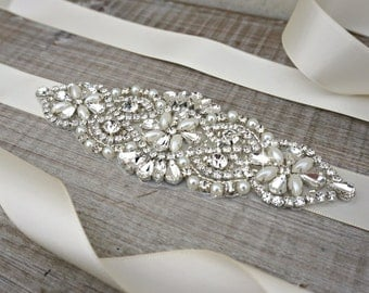 Bow Wedding Dress Sash with Crystals