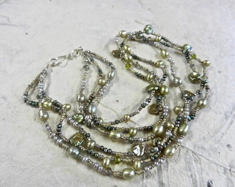 Handmade Necklace Of Fresh water Pearls, Crystals, Glass And Sterling Silver By Kathryne L. Wright