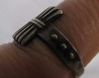 Antique, Unique Sterling Silver Size 5 Ring, Unidentified Hallmark, Rustic