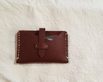 Custom stitched leather card wallet