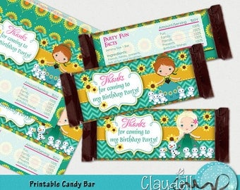 Frozen Party Inspired Printable Candy Bar Wrappers - 300 DPI (Hershey Big)
