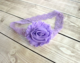 Lavender Lace Headband, Lavender Hair Bow, Newborn Headband, Baby Headband, Infant Headband