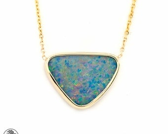 Opal Doublet Necklace, Yellow Gold Necklace, Opal Necklace, Bezel Set Doublet, Doublet Opal Necklace, Blue opal Necklace | NEC01893