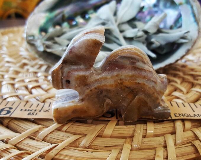 Pakistani Onyx Rabbit ~ One Small Reiki Infused gemstone rabbit approx 2 inches (E08)