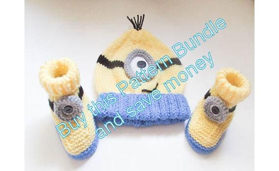 Knitting Pattern For Minion Beanie : Knitting Pattern Minion Hat Minion Booties hat by WistfullyWoolen