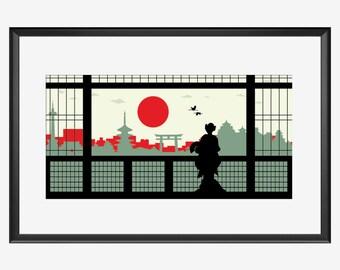 Kyoto skyline print, memoirs of a geisha inspired print, Kyoto Japan print, Geisha Geiko Geiki Maiko Sakko Gion poster art Illustration gift