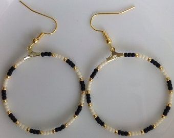 The Jennifer Collection-Winter White, Black and Gold Japanese Sead bead Creole Earrings