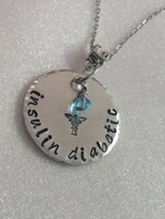 Medical Alert - Hand Stamped Necklace - Swarovski Birthstone Bead - Diabetic - Personalized - Medical ID Necklace - Medical ID Jewelry