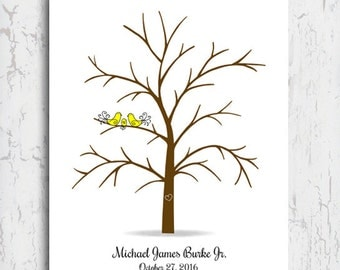"""Baby Shower Guest Book Alternative, Thumbprint Tree, Fingerprint Tree, Baby Shower Gift, Guest Sign In, Guest Book Printable File 11x14"""""""