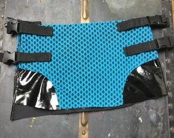 Vintage Club Kid Cybergoth Raver Punk Vinyl fishnet mini skirt sm