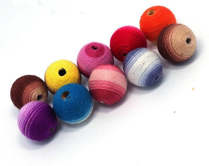 Wholesale Pattern Crochet Beads 30pc/lot 20mm Round Mix Color Ball Knitting