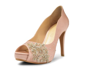 Charlotte Peach Wedding Heels,  Diamante Nude Wedding Shoes, Swarovski Nude Wedding Heels, Peach Diamonds Bridal Heels, High Heel Shoes