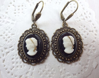 victorian lady - Cameo Earrings leverback glass Gemme Cabochon
