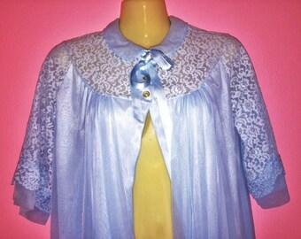 50s Light Blue Robe Dress, Size M