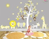 Jungle Nursery Decor. White Tree Decal with yellow and grey Mural safari animals and swinging monkeys baby wall stickers Grey Elephant