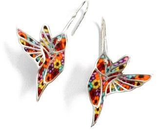 Hummingbird Dangle Earrings – 925 Sterling Silver Handmade Multicolored Millefiori Polymer Clay Jewelry