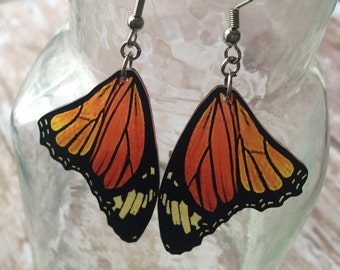 butterfly wing earrings moth bug insect charm monarch orange
