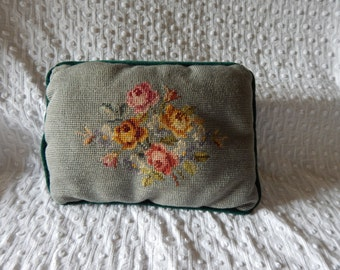 Sweet little needlepoint floral pillow