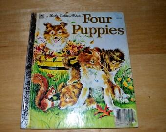 "Vintage Little Golden Book "" Four Puppies """
